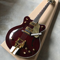 Wholesale Hollow Body Jazz Guitars - Custom 2017 New Arrival Gre G6122-1962 Brown Jazz Semi Hollow Body Electric Guitar Bigs Tremolo Bridge Gold Hardware Drop Shipping