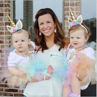 Wholesale Decorations For Headbands - 5 inch Glitter Unicorn Horns Headband For Girls And Kids 2017 Felt Padded Unicorn Hair band Hair Accessories DIY Unicorn Party