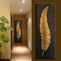 ingrosso decorazioni domestiche della pittura a olio-handmade parete verticale su tela grande soggiorno moderno Corridoio corridoio decorazione pittura ad olio foglia oro immagine home decor
