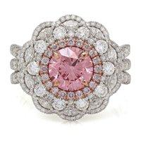 Wholesale Round Diamond Engagement Rings Gia - 3.72 TCW Round Fancy Vivid Pink Diamond VVS2 GIA 18K White Gold Engagement Ring
