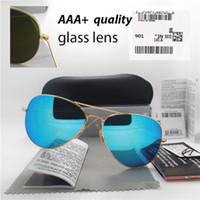 pegatina gafas de sol al por mayor-Lente de cristal de calidad superior Hombres Mujeres Polit Fashion Sunglasses UV400 Diseñador de la marca Vintage Sport Gafas de sol Con caja y adhesivo