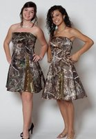 Wholesale Off Shouder - Short Strapless Courtesy Of Simple Strapless Satin Formal Camo Bridesmaid Dress Damsel Maid Of Honor For Girls Paillettes Off Shouder