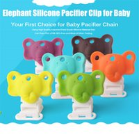 Wholesale-5pcs silicone Baby Elephant Dummy Massaggiagengive Pacifier clip catena Soother clip di cura Accessori Holder 5 colori