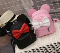 Wholesale 2016 Hug Me Girls Backpack Korean Cute Cartoon Mickey Design Backpack Fashion Bow Girls Bags with Ear
