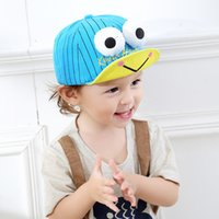 Wholesale Animal Baseball Caps For Kids - Cartoon Frog Baby Girls Boys Baseball Caps With Big Eyes Kids Balaclava Snapback Fitted Hat Sun Hats For 3-24 Months