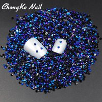 Wholesale Blue Facet Crystals - Wholesale- SS6 Jelly AB Black Blue 2mm Crystal Facets Resin Flat Back Rhinestones Nail Art Candy beads 2000pcs