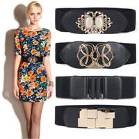 ceintures de gemme femme achat en gros de-2018 Date opale gem dress cummerbund coeur punk boucle cummerbunds HOT large élastique ceinture noire taille ceinture femmes or boucles