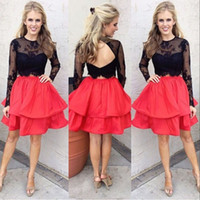 Discount plus size long sleeve crop tops - 2017 Little Black Crop Top Two Pieces Homecoming Dresses Crew Ball Gown Satin With Long Sleeves Short Cocktail Gowns Party Prom Dress
