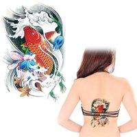 Wholesale Tattoos Chinese Eyes - Wholesale- 12 x 20 cm Chinese Kio fish Tattoo Sticker Waterproof Summer Style TattoTatoo Temporary fake Body Art tattoo free shipping AX34