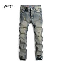 Wholesale Men S Perfumes - Wholesale- 2016 brand mens fashion jeans men pants perfumes 100 original jeans men hip hop belts for men hole white straight jeans B2556