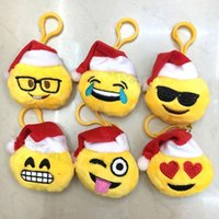 Wholesale Small Doll Hats - New Christmas gift 6*8cm QQ Emoji Smiley Pillow Small Plush Doll Keychain Pendant Emotion Yellow hat Expression Stuffed Toys B