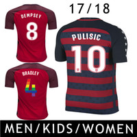 Wholesale Shirt United States Women - Pulisic Soccer Jersey USA 17 18 DEMPSEY DONOVAN BRADLEY United States Gold Cup America Cup 2017 2018 Kids Women Long SLeeve Football Shirts