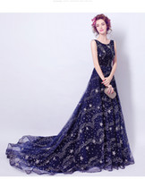 Wholesale Tail Pipes - Royal Blue Halter Crystal Beaded Bodice With Full Length Tail Evening Dresses Arabic Evening Gowns vestido de noche