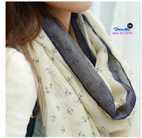 Wholesale voile scarves - Wholesale-180*90cm 2015 New Fashion women winter & autumn scarves Anchor print voile scarf bufandas brand big size soft woman scarf shawl