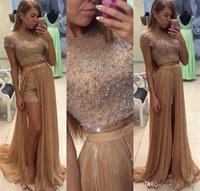 Wholesale Import China Party - Short Sleeve Prom Two Pieces Party Gown Beading Sequin Long Dress Modest Made In CHina Imported Elegant Beautiful 2017 Sweet Girls Gown