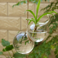 Wholesale wholesale glass hanging terrariums - Set of 2 Hanging Gourd Shape Glass Vase Flower Plant Pot Container Planter Terrarium for Cafe Home Decoration