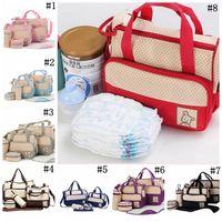 Wholesale Maternity Nursing Set - Mommy Bags Nappies Handbags Mother Backpack Diaper Maternity Backpacks Pregnant Desinger Nursing Travel Bags 8 Colors 5pcs set OOA2584
