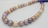 "Wholesale Natural Pink Pearl Necklace - Fine Pearls Jewelry AAAA Luster 18""11-12mm rare natural real South sea round pink lavende colorful pearl necklace 14K"
