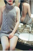 ingrosso cardigan senza maniche lunghe-Maglione senza schienale donna Giapponese Sexy collo alto senza maniche Dolcevita senza maniche Collo alto Aperto Indietro Lungo Spalla Halter Maglione
