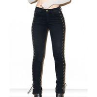 medias de encaje laterales al por mayor-Al por mayor-2017 Nueva Moda Hip Fop Mujeres Side Lace Up Lápiz Negro pantalones ajustados Sexy Cross Vendaje Pantalones Skinny Jeans Slim Pocket Pants