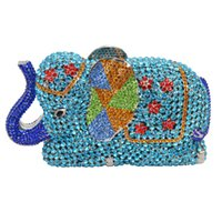 Wholesale Indian Shoulder Bag - Wholesale- Fashion Newest Luxury Crystal Diamond Elephant Evening Bag Deluxe Indian Rhinestones Metal Zinc Alloy Bridal Party Purse SC487