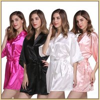 Wholesale Wholesale Bridesmaid Dresses Sleeves - 20 kinds of imitation silk pajamas pure color bathrobes cardigan rituals bridesmaid dress bathrobe hot spring party stockings pajamas YYA149