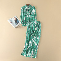 Wholesale Banana Suit - Europe and the United States women's clothing The new summer 2017 Banana leaf printed lapel shirt + wide-legged pants suit