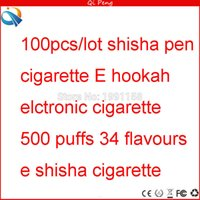 Wholesale Electronic E Shisha Cigarette - Wholesale- 100pcs lot E shisha time elctronic cigarette 500 puffs shisha pen cigarette 34 flavours electronic shisha time pen cigarette