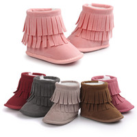 Wholesale Snowboots Boys - Baby tassels snowboots 8colors cute toddlers soft sole warm boots boys girls winter fashion firstwalkers