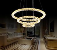 ingrosso ha condotto le luci di cristallo intorno a pendente-lusso AC110-240V rotonda trasparente plafoniere di cristallo Lampadario di cristallo LED luce sala da pranzo luce a sospensione led droplightFixtures