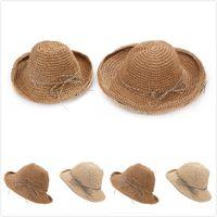 Wholesale Kids Fashion Crochet - Fashion women hats Straw hats Bow Beach sun hats Crochet bucket hat Mother Kids Family matched 2017 Spring Summer sunbonnet wholesale
