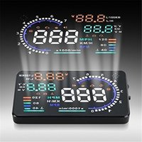 Wholesale car hud obd2 online - A8 quot Car HUD Head Up Display Vehicle mounted Security System OBD2 Interface Plug Play KM h MPH Speeding Warning