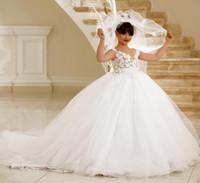vente de robes de soirée juniors achat en gros de-Ventes chaudes Blanc Junior Filles Demoiselle D'honneur Robe Pour Mariages De Fête Appliqué Fleurs Filles Robes