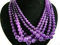 """Wholesale Round Gemstone Beads 14mm - Wholesale cheap 5 Strands 6-14mm Russican Amethyst Gemstones Round Beads Necklace 18"""""""