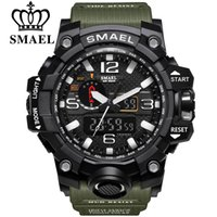 Wholesale Nude Swimming - SMAEL Brand Men Sports Watches Dual Display Analog Digital LED Electronic Quartz Wristwatches Waterproof Swimming Military Watch