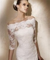 Wholesale Garment Accessories Lace - New Arrival White or Ivory 3 4 Sleeve Lace Women's Boleros Wrap Accessories Wedding Bridal Jackets