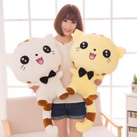 Cheap Trendy Big Face Cats Pillow Baby Doll Crianças Adulto Soft Stuffed Peluche Animais Brinquedos Lumbar Sleep Pillow Birthday Gift Free Shipping