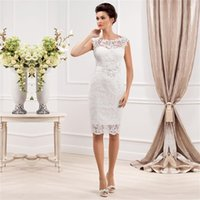 Высокое качество 2016 Vintage Lace Short Wedding Dresses Bateau Lace Applique sheath Beige Bridal Gowns Бесплатная доставка