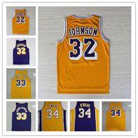 Wholesale Magic Johnson Shirt - 2016 Retro 32 Magic Johnson Jersey Throwback 33 Kareem Abdul Jabbar Shirt Abdul-Jabbar 42 Artest Worthy 44 Jerry West 34 Shaquille ONeal fre