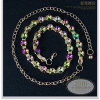 Wholesale Genuine Crystal Jewellery - Wholesale- Girls Belt Hip Waist Chain Colorful Rhinestone Crystal Wedding Party Belly Dance Hip Scarf Costume Jewellery