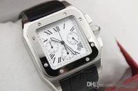 Wholesale Mens Clasp Belt - luxury brand quartz chronograph 100 XL black leather band mens watches watch sapphire quality big dial CHRONO WATCH Sapphire original clasp