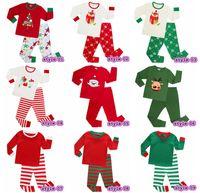 Wholesale Striped Color Matching - 2017 Xmas Kids Family Matching Christmas Deer Moose Striped Pajamas Sleepwear Nightwear Pyjamas bedgown sleepcoat nighty 9colors choose free