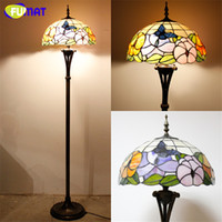 New Art Tiffany Lâmpada de assoalho Vidro manchado Cortina Beads Baroque Vintage Stand Lâmpada Sala de estar Hotel Book Store Bar Decor Light Fixture