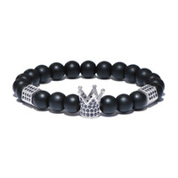 Wholesale imperial copper - Classic Imperial Crown & Stoppers Bracelets Mens Natural Stone Beads Braclet For Women Men Hand Jewelry Pulseras Mujer