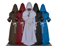 Wholesale Halloween cosplay anime show medieval monks monk robe sorcerer clothes clothes clothes Christian church pastor Father COS clothing