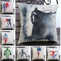 aquarela de travesseiro venda por atacado-Aquarela Super Hero Almofada Fronha Almofada Decorativa Fronha Throw Pillow Almofada Caso 45 * 45 Frete Grátis