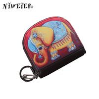 Wholesale oval clutches - Wholesale- Cartoon Elephant Women's Coin Purse Girls Teenagers Organizer Wallets Zipper Clutch PU Leather Ladies Card Bags Bolsa Feminina