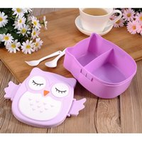 Wholesale Cartoon Food Container - 1pc Cartoon Owl Lunch Boxs Food Fruit Storage Container Portable Bento Box Safe Food Picnic Container Hot Lunchbox Children Gift
