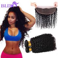 Wholesale Brazilian Afro Hair Weave - Brazilian Hair Bundles Afro Kinky Human Hair Weave Brazilian Kinky Curly Hair Weaves 3 Bundles With Frontal Closure