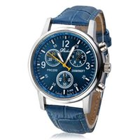 Wholesale Clock Boy - Wholesale- New Man Relogio Masculino Quartz Relogios Clock Fashion Faux Leather Analog Blue Watches For Male Boys Gift For Men's Watch